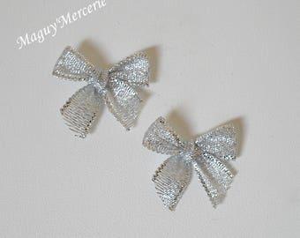 Set of 2 silver glittery organza ribbon bow