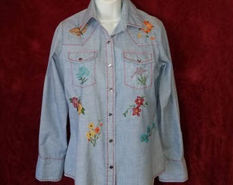 Vintage Wrangler Authentic Western Shirt For Females, Embroidered Floral, Hummingbird