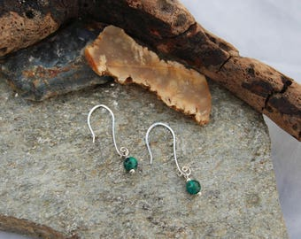 Green Jasper and Silver Drop Earrings Gifts for her/Anniversary/Engagement/Birthday/Bride/Christmas