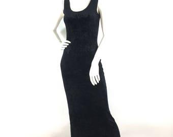 Vintage 1980s prom dress/  black velvet maxi dress/stretch velvet prom dress