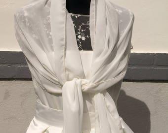 For ivory chiffon wedding shawl