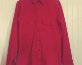 Vintage 1980s Mens Medium to Large Woolrich Red Button Up Work Shirt