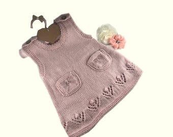 Hand knitted baby dress - Pink