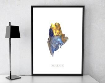 Maine poster, Maine state, Maine art, Maine map, Maine print, Gift print, Poster