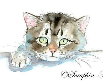 Curious Tabby Kitten Original Watercolor Painting