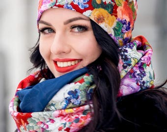 Blue Set Hat with Floral Print and Infinity Scarf Large Wraparound Warm Winter Beanie Neckwarmer Scarf Christmas Gift For Her