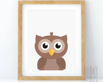 Owl Print, Nursery Wall Art Decor, Woodland Animals, Baby Shower Gift, Girl, Boy, Large Printable Digital Download, Baby Animal Prints