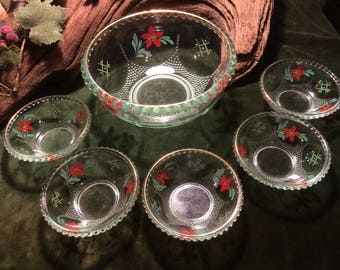 Vntage 1970s Handpainted Glass Trifle / Desert Bowl with 5 matching small bowls