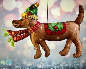 hand stitched brown dog Christmas Handcrafted felt folk art dog cottage chic / felt hanging ornament chic felt / primitive decoration