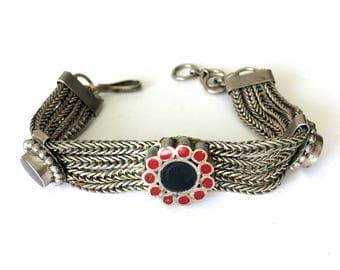 Vintage Silver Tone Tribal Ethnic Indian Rajasthani Inlay Mesh Bracelet