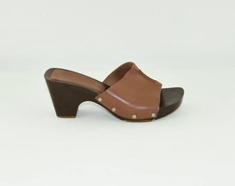 Vintage Brown Leather Peep Toe Slip On Clog Women's Sandals Shoes Size 4/37
