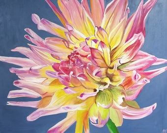Pink and yellow dahlia - Oil on Canvas