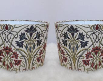 Pair of Fabric Lampshades Handmade Art Deco Vintage Style Patterned Light Shade UK
