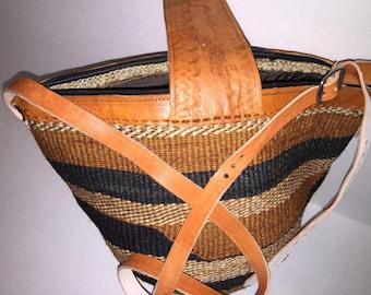 Handwoven African Sisal Basket . Market Basket . Groceries Basket . Vegetables Basket . Eco-friendly basket . Storage basket