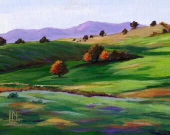 Sunny Landscape 6x8 Acrylic Painting