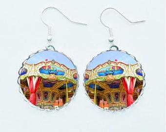 Carousel Earrings / Pendant Necklace / Ring / Pin Badge Fairground Ride Cocks & Horses Handmade Photo Jewellery Jewelry