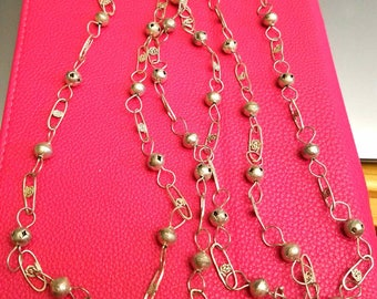 silver chain necklace decorative links 30""