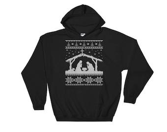First Christmas Nativity Scene Ugly Christmas Sweater Style Hooded Sweatshirt