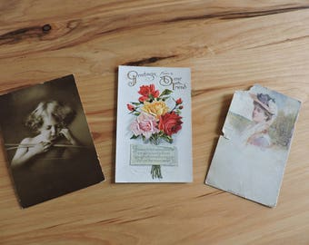 Antique Postcards, Lot of 3 Antique Postcards, Three Victorian Postcards, Three Vintage Unused Postcards