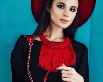 Red long fringe necklace Crochet chunky tassel bib necklace Rope boho jewelry Tribal gypsy style necklace Hippie fringe jewelry Wife gift