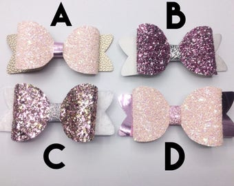 Large glitter bow clips