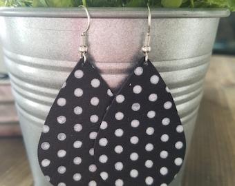 Black white polka dot leather teardrop earrings