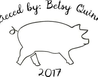 Farmhouse Pig - Custom Quilt Label