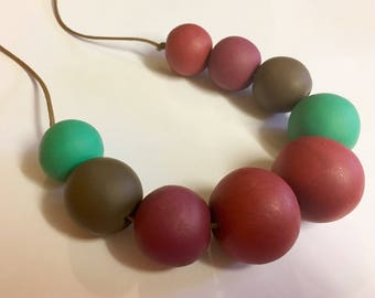 Colourful clay beaded necklace