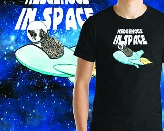 Hedgehogs In Space Short-Sleeve Unisex T-Shirt | Funny Hedgehog Shirt | Hedgehog Astronaut T-Shirt | Hedgehog Spacehog Shirt