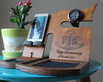 Personalized men docking station Gift for Man Valentines day gift for men Dark desk organizer Valentines  boyfriend gift Iphone 7 plus