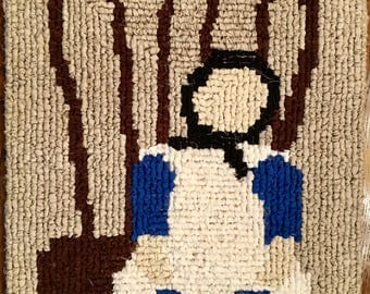 Amish Doll Locker Hooked Rug / Table Cover / Wall Hanging