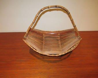 bamboo basket year 60 vintage rattan wicker basket