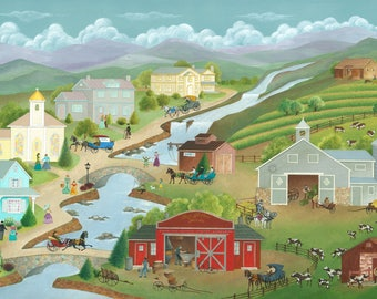 "Folk Art Print ""Fog Hollow Farm"""