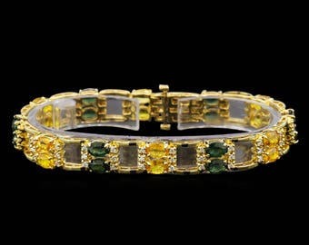Green and Yellow Sapphire Bracelet