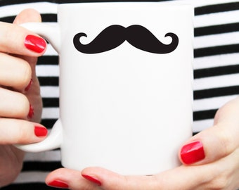mustache mug, mustache cup, minimalist mug, modern cup, coffee mug, mustache coffee
