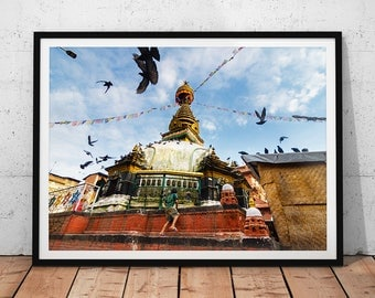 Nepal Buddhist Temple Photo // Travel Photography Print, Buddhism Wall Art, Asian Decor, Kathmandu Buddha Stupa, Asia Home Decor, Shree Gha
