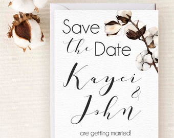Digital  Printable Save the Date Cotton  Wedding  Save the Dates  Personalized Save the Date
