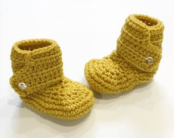 Baby boots, crochet baby boots, mustard yellow with clear buttons