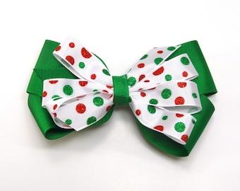 Green Polka Dot Hair bow, Christmas Hair Bow, Girl's Christmas Bow, Green Holiday Hair Bow, Dot Holiday Bow, Red Hair Bow, Holiday party bow