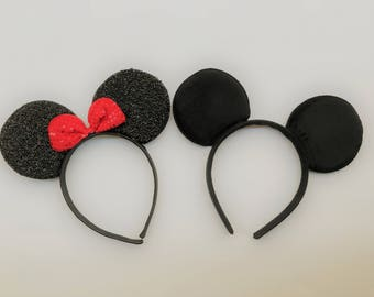 Mickey and Minnie mouse ears headband set