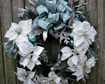 Ready to Ship - Winter Wonderland Holiday Wreath with White/Snow Pointsettia, Silver cedar, Aqua balls, Aqua Rhinestone Bow