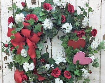 Valentine's Wreath with Red Roses, White Geranium, Pink and Red Wooden Hearts and a Red Burlap Bow - Ready to Ship