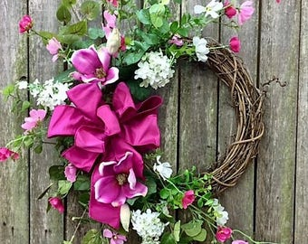 Valentine's Day Crescent Wreath with Cream Lilac, Fuchsia Magnolia, Pink Cosmos, Eucalyptus and a Dark Pink Silk Bow - Ready to Ship