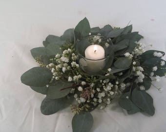 Live To Dry 9 Candle Ring Seeded Eucalyptus Wreath Overtime Gyp