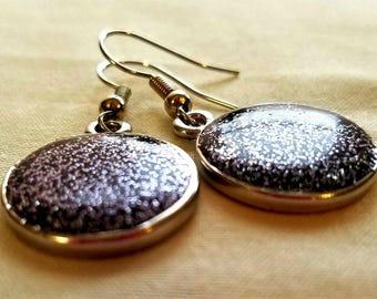 Black Glitter Round Earrings