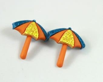 Umbrella studs, Umbrella earring, Beach umbrella earrings, Beach umbrella studs