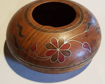 Beautiful Marquetry Wooden Bowl