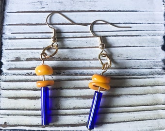 Quirk Blue and Yellow Dangle Earrings