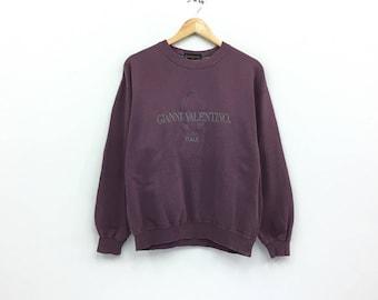 Rare!!Vintage Gianni Valentino Sweatshirt Italy Biglogo spellout embroidery