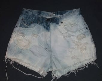 Vintage Destroyed Ripped Distress High Waist Bleached Shorts